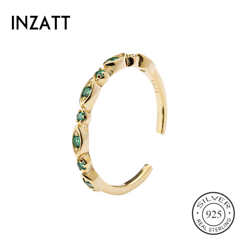 INZATT Real 925 Sterling Silver Exquisite Green Zircon Opening Ring For Elegant Women Party Fine Jewelry Cute Ring Accessories