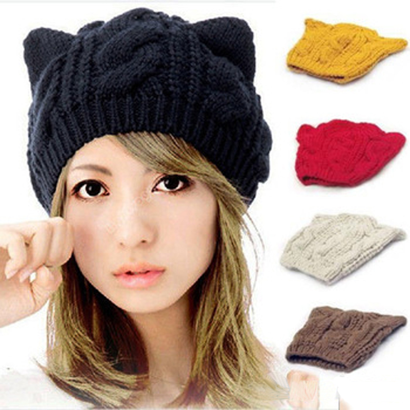 Women's Knitted Wool Hat Cap Female Cat Ears Gorros Beret Beanie Touca Bonnet Crochet Braided Ski Winter Hats for Girl M0561 30 mengpipi womens letters knitted hats winter glass sequins beanie hat cap chapeu gorros de lana touca casquette cappelli bonnets