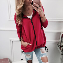Gray Red Pocket Drawstring Detail Solid Hoodie Women Casual Clothing Autumn Long Sleeve Hooded Zip-up Sweatshirt Girls Tops XXL