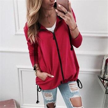 Gray Red Pocket Drawstring Detail Solid Hoodie Women Casual Clothing Autumn Long Sleeve Hooded Zip-up Sweatshirt Girls Tops XXL grommet detail tied open sleeve sweatshirt
