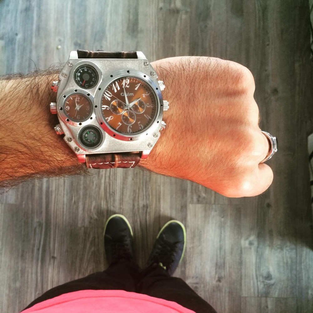 Image 2 - Oulm Мужские спортивные часы, уникальные дизайнерские кварцевые часы с несколькими временными зонами, повседневные наручные часы с большим лицом, мужские военные часыСпортивные часы   -