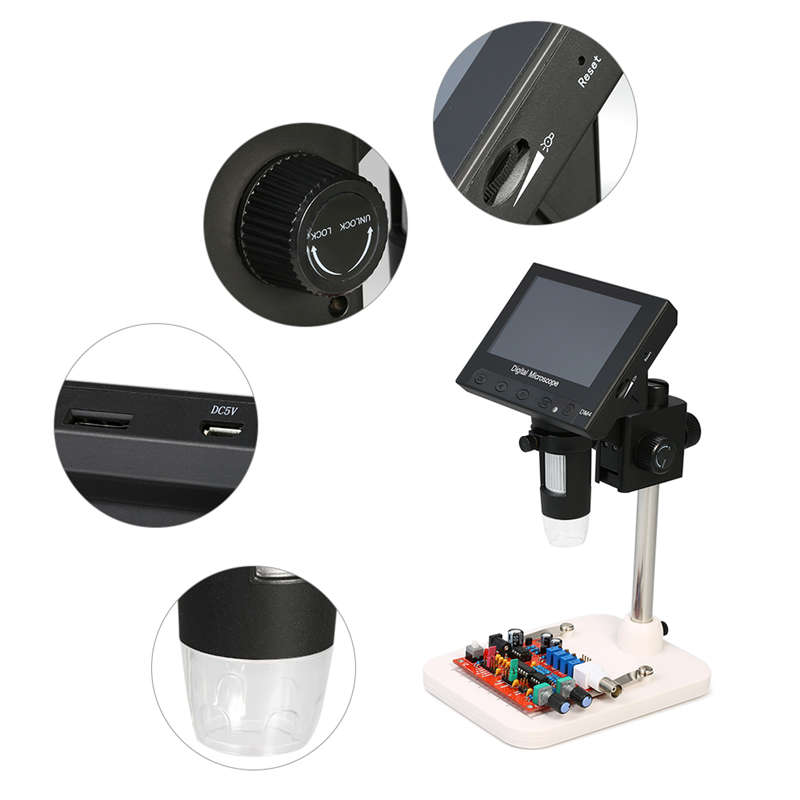 Image 5 - Usb Digital Electronic Microscope 1000x 2.0mp Dm4 4.3 Inch Lcd Display Vga Microscope Stand With 8 Led For Pcb Circuit Motherb-in Microscopes from Tools