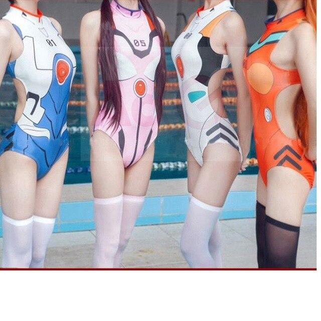 Neon Genesis Evangelion Ayanami Rei Ikari Shinji Soryu Asuka Langley Cosplay Costume EVA One-pieces Spandex Swimsuit
