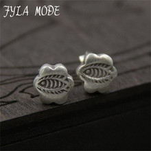 Fyla Mode 925 Sterling Silver Stud Earring Fish And Flower Design Carved Jewelry For Women High Quality New Wedding Accessory
