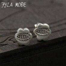 Modo Fyla envio 925 Sterling Silver Stud Brinco de Peixe E Projeto Da Flor Esculpida caixa de Jóias Para As Mulheres de Alta Qualidade Novo Acessório Do Casamento