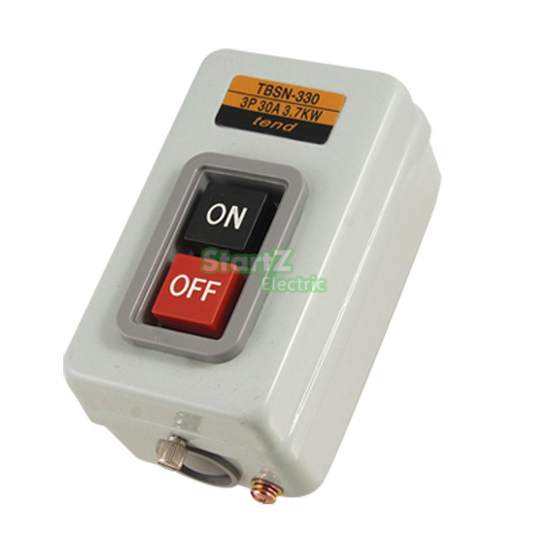 Rectangle Metal Box ON OFF Position Push Button Switch AC 380V 3.7Kw TBSN-330 5pcs lot high quality 2 pin snap in on off position snap boat button switch 12v 110v 250v t1405 p0 5