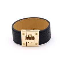 New Fashion H Bracelets for Women Men Wide Circle Buckle Charms PU Leather bracelets & bangles Wrap Bracelet femme Jewelry Gift