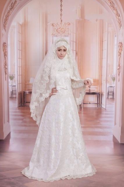 983458bc03f Simple Long Sleeve Kaftan Plus Size Muslim Wedding Dresses Appliques Arabic Hijab  Bridal Gown Vestido De Casamento 2017
