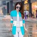 Женщины 2016 зима новый длинный полосатый вязать кардиган куртки Корейский стенд воротник женщин с длинными рукавами тонкий слой леди свитера S2845