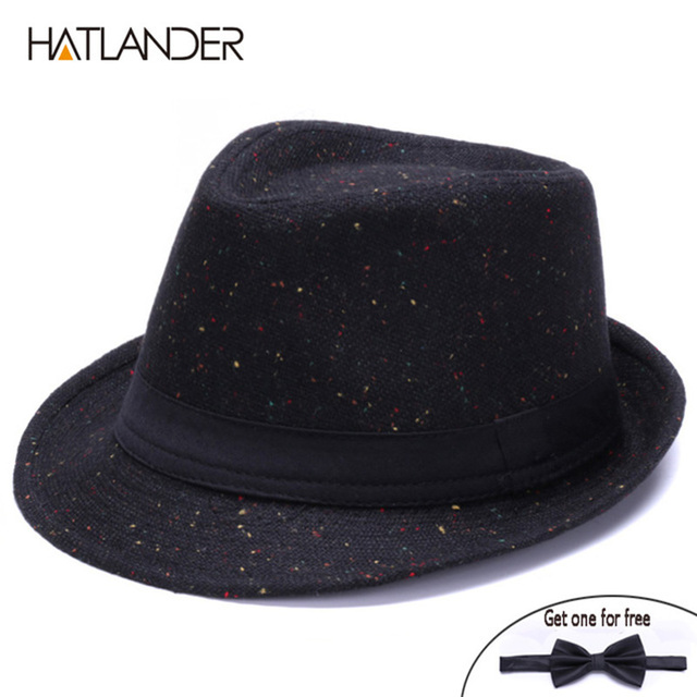 bd2c92a0c63 HATLANDER Retro Gentleman panama fedora hat mens Jazz billycock cap outdoor  trilby chapeau Derby church hats top fedoras
