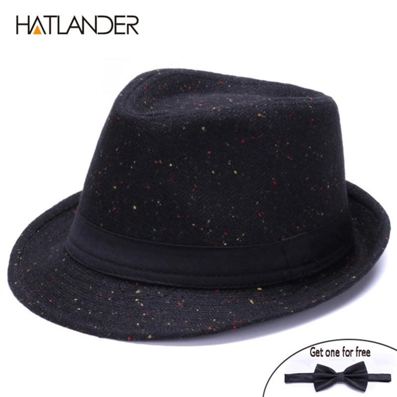 HATLANDER Retro Gentleman panama fedora hat mens Jazz billycock cap outdoor trilby chapeau Derby church hats top fedoras