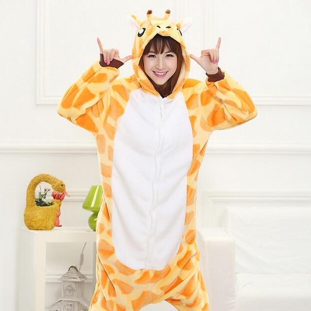 Adult Giraffe Pajamas Cosplay Costume For Men Women Animal Sleepwear Cartoon Jumpsuit Lovely Winter Carnival Party Onesies
