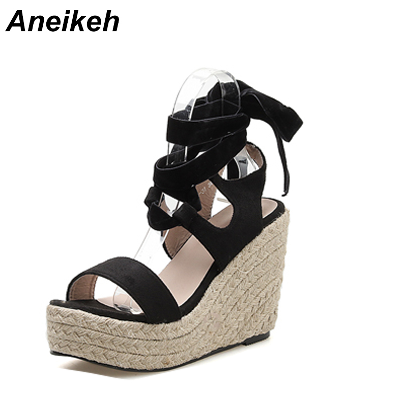Aneikeh 2019 Ethnic Flock Womens Sandals Wedges Sandals PU Black Shallow Lace-Up Round Toe Shallow Solid Open Wedding Size35-40Aneikeh 2019 Ethnic Flock Womens Sandals Wedges Sandals PU Black Shallow Lace-Up Round Toe Shallow Solid Open Wedding Size35-40