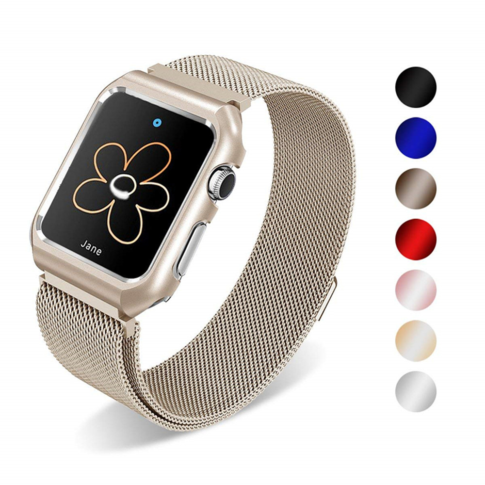 Case+milanese loop stainless steel band for apple watch 4 44mm 40mm iwatch series 3/2/1 42mm 38mm strap link bracelet watchband case link bracelet strap for apple watch 4 3 2 1 44mm 40mm band stainless steel metal buckle watchband iwatch series 42mm 38mm