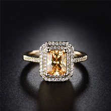 BUDONG Stunning Pretty Double Halo Finger Ring Gold Color