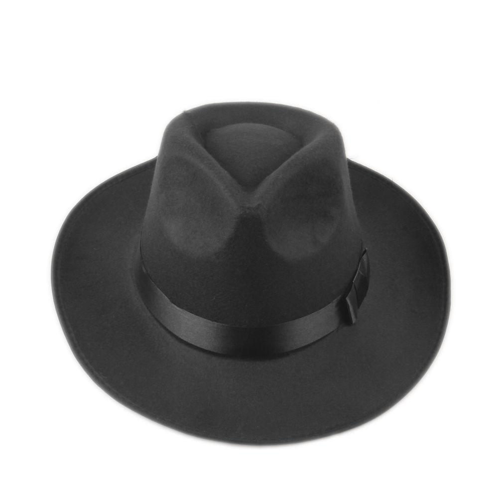 6fd900b52ab LUCKYLIANJI Vintage Men Women Hard Wool Felt Hat Wide Brim Fedora Trilby  Panama Hat Gangster Cap (One Size 58cm)-in Fedoras from Men s Clothing .
