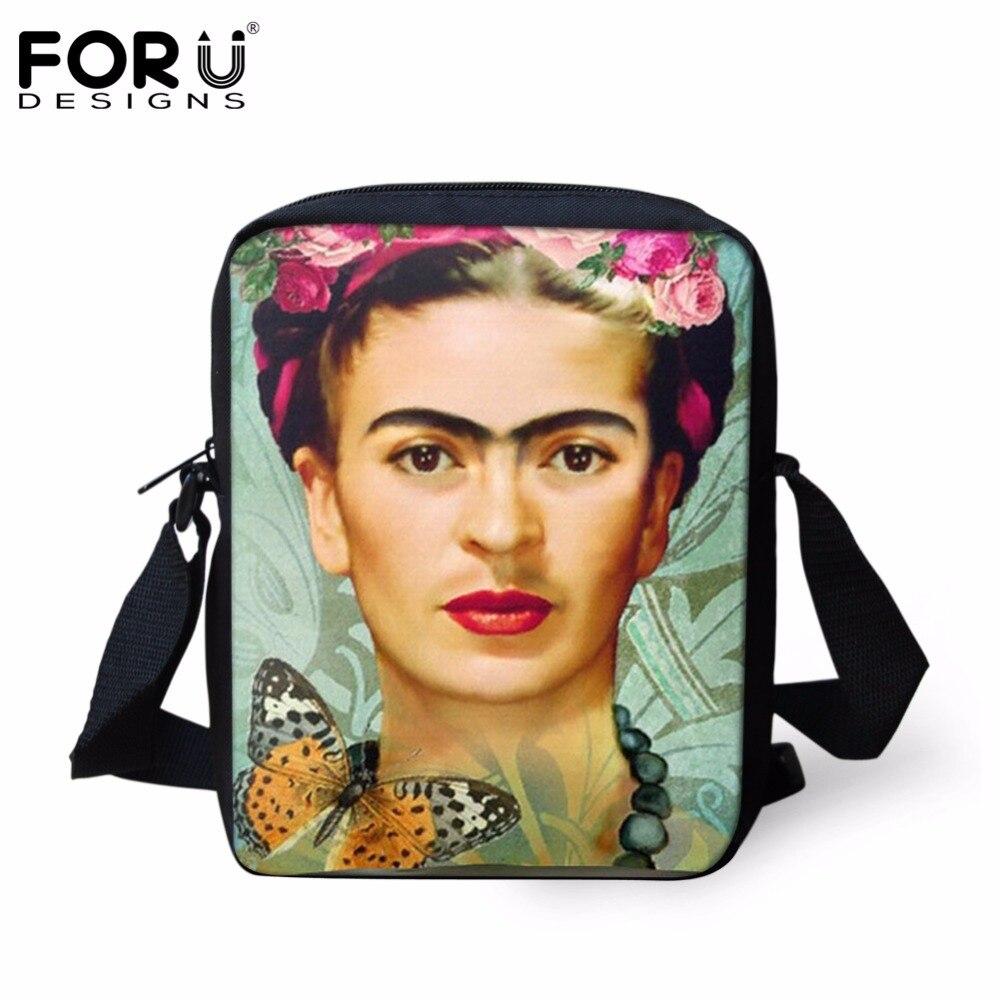 FORUDESIGNS Frida Kahlo Mini Messenger Bag Women Handbag Girls Lady Shoulder Bags Children Crossbody Bag Bookbag Gift Kids Bags frida kahlo i paint my reality