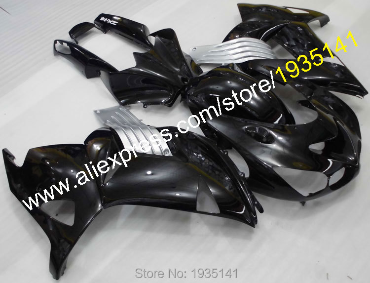 Горячие продаж,Обтекатели для Kawasaki ZX14R 06 07 08 09 10 11 ниндзя СЗР капота 1400 на ZX-14Р 2006-2011 серебро черный (Инжекционный метод литья)