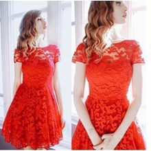 Large Size 2018 New Arrival Spring Summer Dress Women Plus Size Casual Lace Dress Sexy O-Neck Elegant A-Line Dresses Vestidos(China)