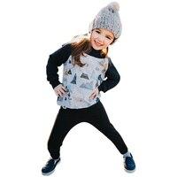 2017 ילדי אופנה מקרית streetwear גבעות טי קריקטורה חולצת הדפס שחור שרוול ארוך חולצות tees + כובע ילד חורף סתיו ילד