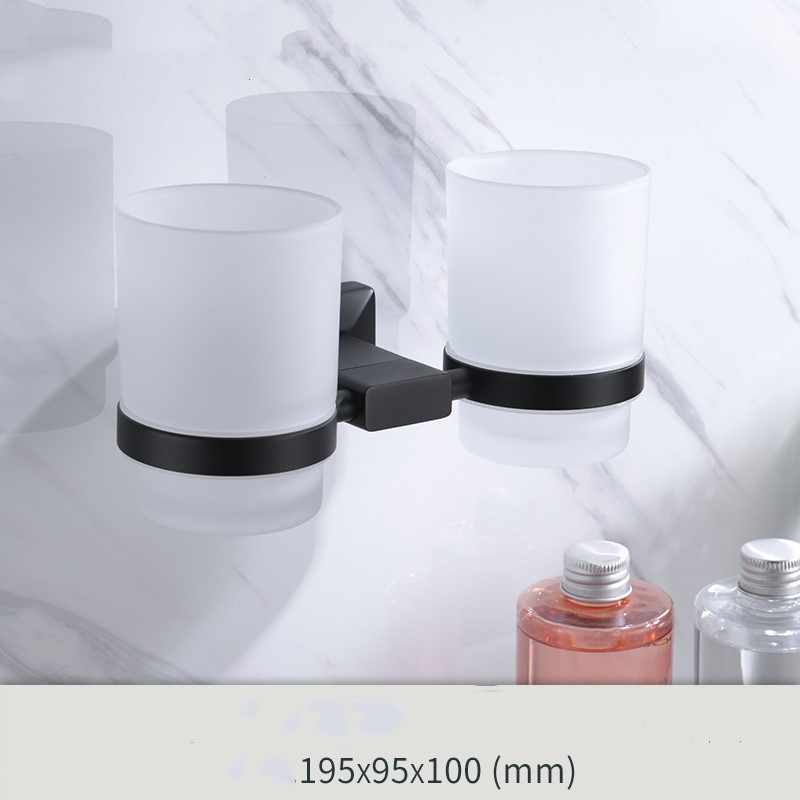 Matte Black Newest solid brass Bathroom Hardware Accessory bathroom Double Toothbrush cup holder-- image