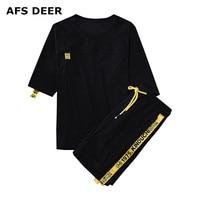 Brand Men S Tracksuit Summer Men Set Short Sleeve T Shirts Hip Hop Tops Shorts Suit