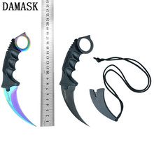 Damask Multifunctional Fixed Blade Knife CS GO Karambit Tactical Outdoor Survival Knives Professional Hunting Fighting Tools