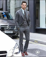 Tailored Smoking Grey Tweed Suit Men Slim Fit 3 Piece Blazer Custom Groom Prom Wedding Suits Terno Masculino Jacket+Pant+Vest