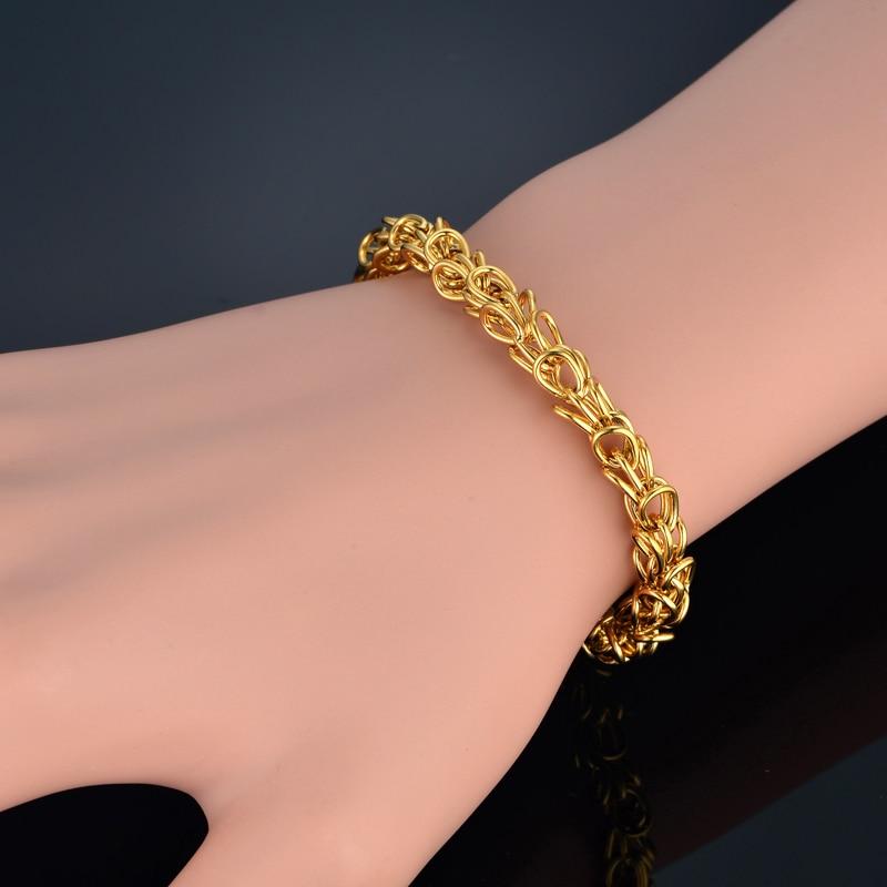 Mens Womens Bracelets Male Crown Stainless Steel Bracelet For Women/Men Gold Color Braslet Punk Mens Chain Link Bracelet