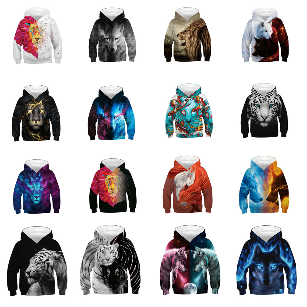 Wolf Printed <font><b>Hoodies</b></font> kid <font><b>3d</b></font> <font><b>Hoodies</b></font> Brand Sweatshirts Boy Jackets Quality Pullover Fashion Tracksuits <font><b>Animal</b></font> Streetwear Out Coat image