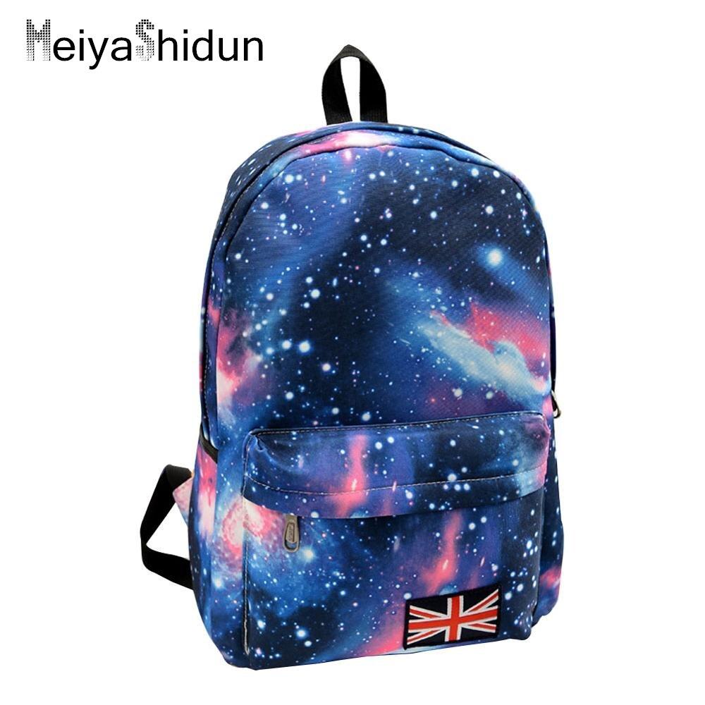 Для женщин рюкзак мешок школы для девочек-подростков рюкзак Stars Вселенная Космос Печать на холсте женский Рюкзаки для студентов колледжа