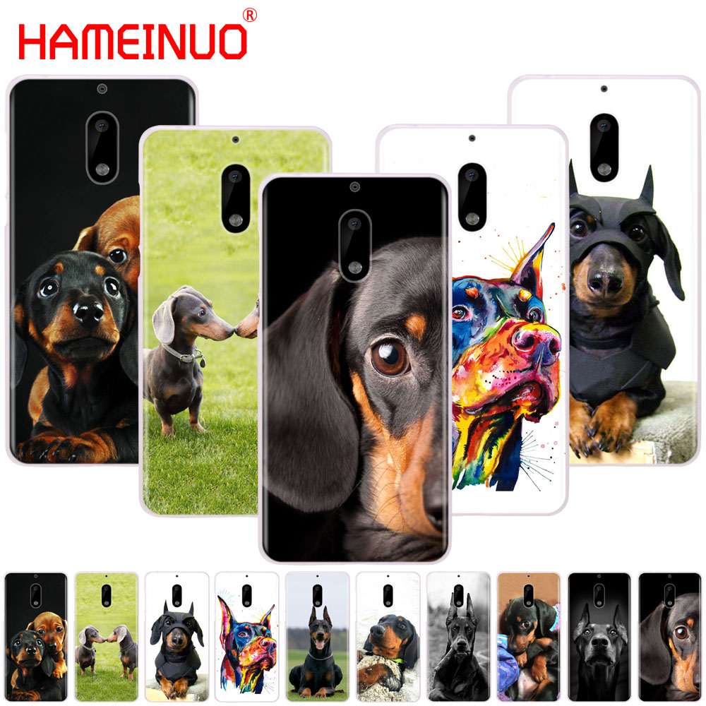 HAMEINUO Cute Dachshund Doberman <font><b>Dog</b></font> cover phone <font><b>case</b></font> for <font><b>Nokia</b></font> 9 8 7 6 5 <font><b>3</b></font> Lumia 640 640XL 2018 image