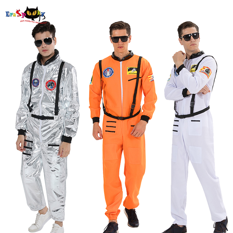 Plus Size Men Astronaut Alien Spaceman Halloween Costume Adult Carnival Party Pilot Jumpsuit Flights Outfits Group Cosplay