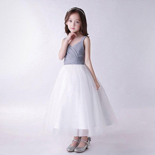 b3d46d6f71e 2019 Flower Girl Wedding Dress for toddler kids girl clothing Grey Dress  Tulle Pleat Dresses Sleeveless Floor Princess Lovely