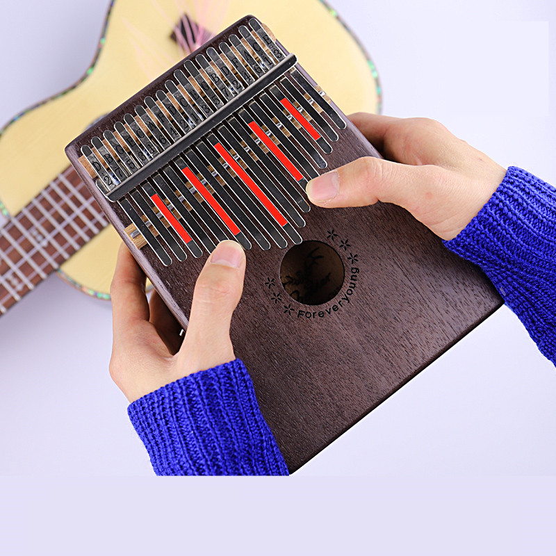 17 Key Kalimba Mahogany Thumb Piano Mbira Solid Wood Thumb Piano Finger Mini Keyboard Instrument Calimba African Natural Piano