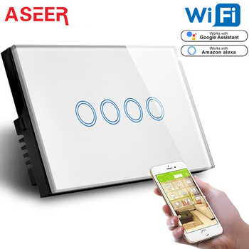 ASEER US 4 Gang Smart Switch Wifi APP Control Lamp Switch,Crystal Glass Switch WIFI2.4GHz,Compatible With Alexa Google Assistant