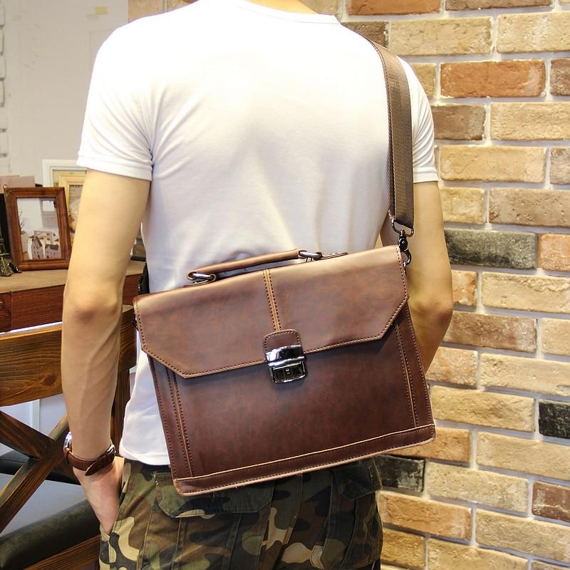 "Vintage Men's Bag Crazy Horse PU Leather File Briefcase Men Messenger Bags Coffee Color Fashion Portfolio 12"" Laptop Handbag"