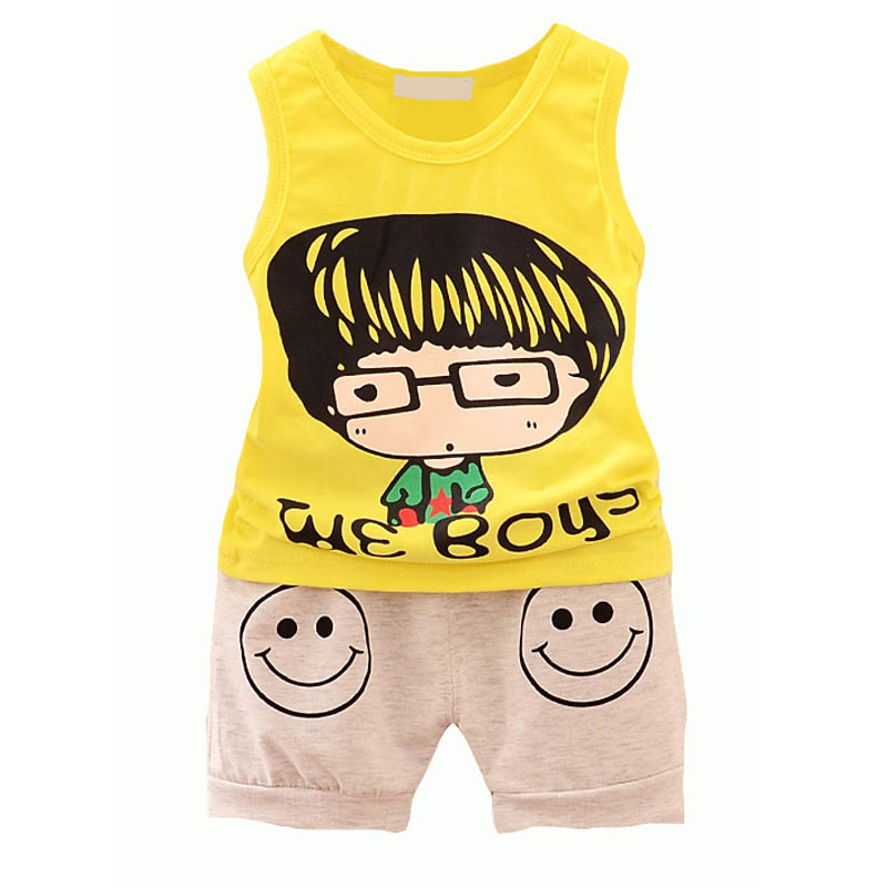 Baby Boy Girls Clothing Set Cute Cartoon Print Top+Pant Cotton Kids Boys Clothes Summer Children Clothing Sets Sleeveless