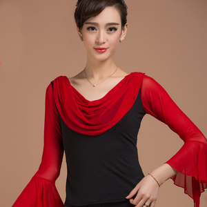 Image 2 - แฟชั่นห้องบอลรูม SEXY PROM แขนยาวผ้าพันคอ Ruffle ละตินเต้นรำเสื้อผ้าสำหรับผู้หญิง/หญิงเครื่องแต่งกายสวม Y931