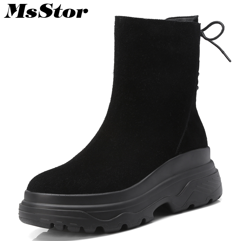 MsStor Women Thick Bottom Boots Casual Fashion Concise Platform Ankle Boots Women Shoes Zipper Cross Tied Boots Shoes Woman 2018 msstor round toe thick bottom women boots casual fashion concise ankle boots women shoes mature elegant platform boots women