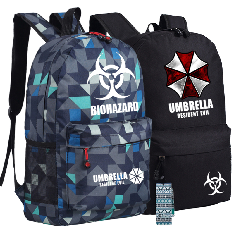 Biohazard Umbrella Resident Evil First Aid Backpack Anime bags Student Back to School Schoolbags  Boys Girls Mochila Gift
