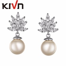 KIVN Womens Fashion Jewelry Dangle CZ Cubic Zirconia Wedding Bridal Simulated Pearl Earrings Birthday Christmas Mothers Gifts