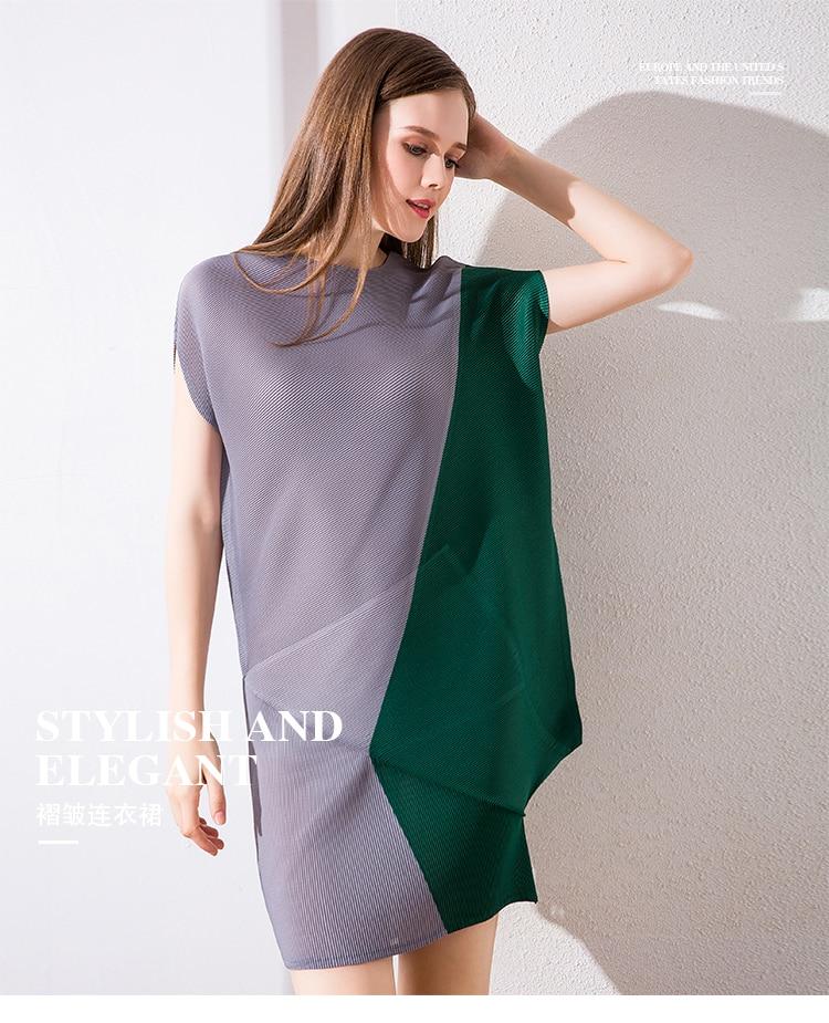 O À cou Robe Asymmetrica Stock Courtes Photo Color Manches Pli En Livraison Gratuite fqwtITgEE