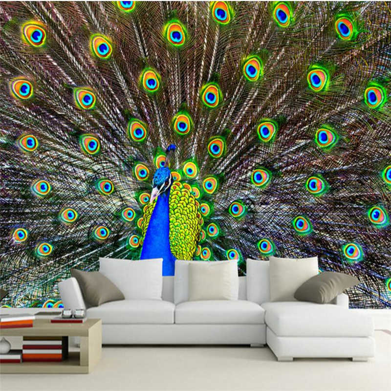 Beibehang Hd Peacock Open Screen Photo Tv Office Background Wall