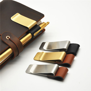 1Pc Metal Leather Pen Holder Brass Stainless Steel Pencil Clip Vintage Dairy Notebook Pen Holder Spiral Loose Leaf Memo Clip(China)