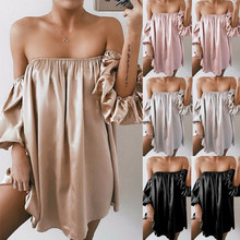 One Off Shoulder Womens New Solid Summer Sexy Strapless Short Sleeve T shirt Casual Party night Mini Dress 2019 Top new Elegant