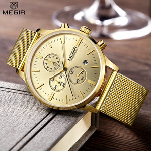 Image 1 - MEGIR كرونوغراف للرجال كوارتز ساعة سليم شبكة سوار فولاذي ساعات رجالية الذهب عادية الأعمال التجارية الذكور ساعة المعصم MG2011