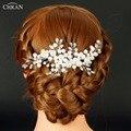 Chran Silver Color Faux Pearl Bridal Wedding Hair Comb Charm Handmade Bridesmaid Bridal Veil Jewelry Hair Accessories HP610