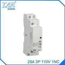 Din rail household AC contactor 25A 2P 110V 1NC Household contact module Rail Modular
