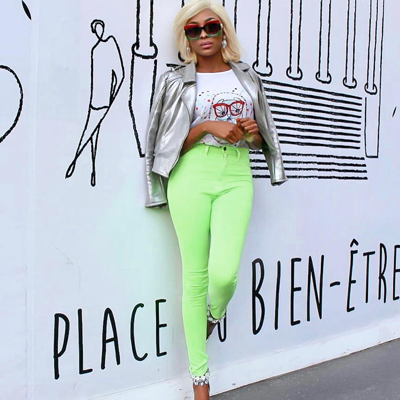 Image 5 - Shiny Neon Pink Green Pencil Pants High Street Women Trousers Skinny High Waist Orange Pants Ladies Long Trousers Skinny Sexy-in Pants & Capris from Women's Clothing